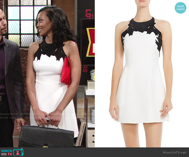 Halston Heritage Embroidered Top Dress worn by Hilary Curtis (Mishael Morgan) on The Young & the Restless