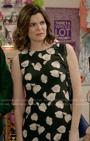 Heather's black and white floral dress on Life in Pieces