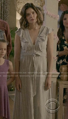 Heather's striped ruffled dress on Life in Pieces