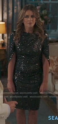 Helena's sequin cape dress on The Royals