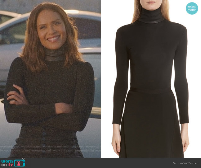 Bondage Jersey Leather Neck Top by Helmut Lang worn by Lesley-Ann Brandt on Lucifer