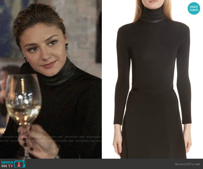 Helmut Lang Bondage Jersey Leather Neck Top worn by Christine Evangelista on The Arrangement