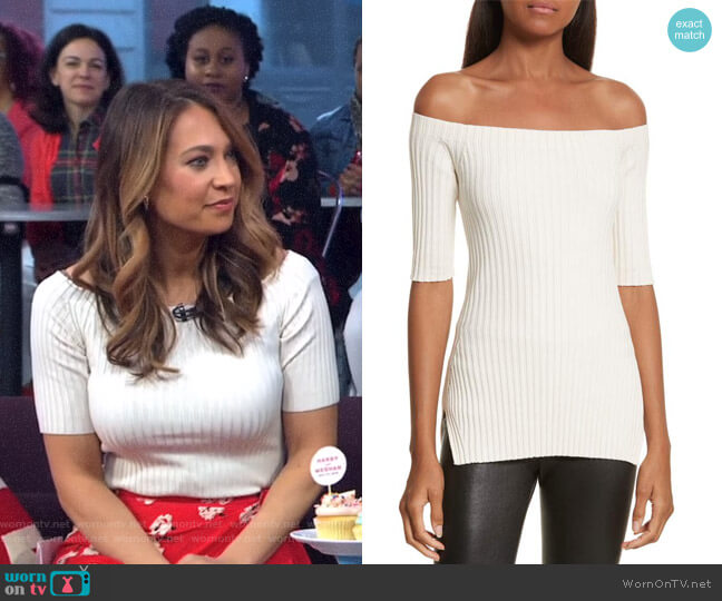 Rib Knit Stretch Silk Off the Shoulder Top by Helmut Lang worn by Ginger Zee  on Good Morning America