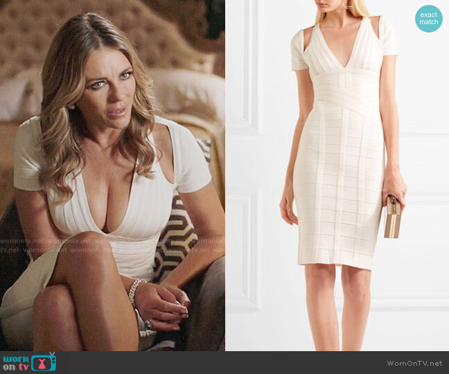 Herve Leger Cutout Bandage Dress worn by Queen Helena (Elizabeth Hurley) on The Royals