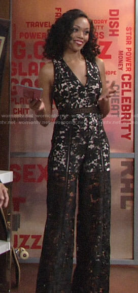 Hilary's black lace jumpsuit on The Young and the Restless