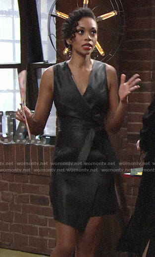 Hilary's leather wrap dress on The Young and the Restless