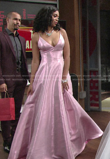 Hilary's pink prom dress on The Young and the Restless