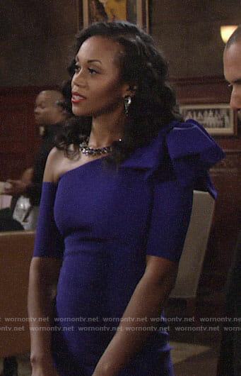 Hilary's purple bow shoulder dress on The Young and the Restless