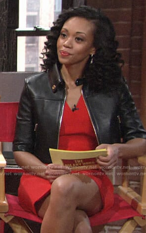 Hilary's red dress and cropped leather jacket on The Young and the Restless