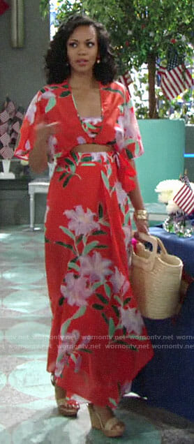 Hilary's red floral crop top and maxi skirt on The Young and the Restless