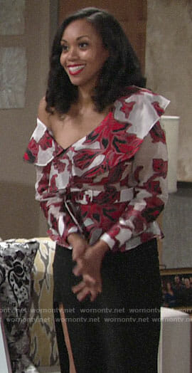 Hilary's red floral one-shoulder top on The Young and the Restless