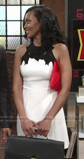 Hilary's white dress with black detail on The Young and the Restless