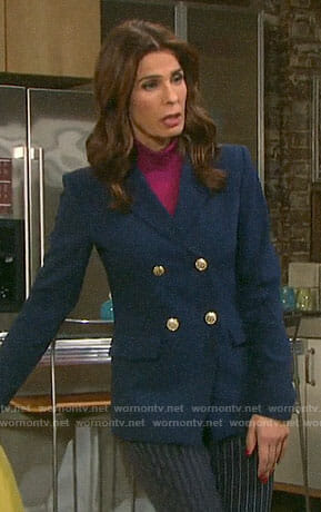 Hope's navy double breasted blazer on Days of our Lives