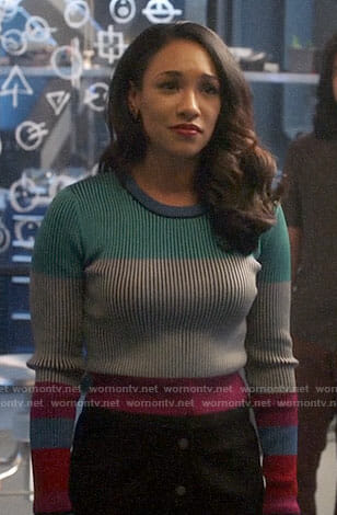 Iris's colorblock sweater on The Flash
