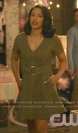 Iris's olive green belted dress on The Flash