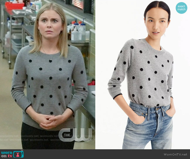 J. Crew Polka dot sweater in everyday cashmere worn by Liv Moore (Rose McIver) on iZombie