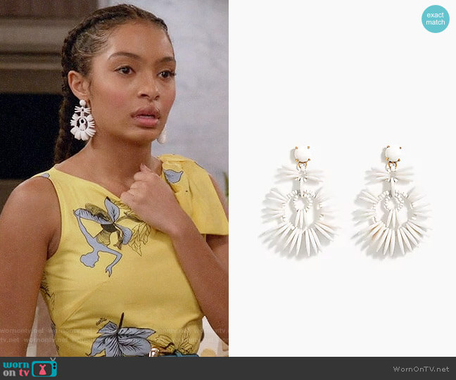 J. Crew Disc Statement Earrings worn by Zoey Johnson (Yara Shahidi) on Blackish