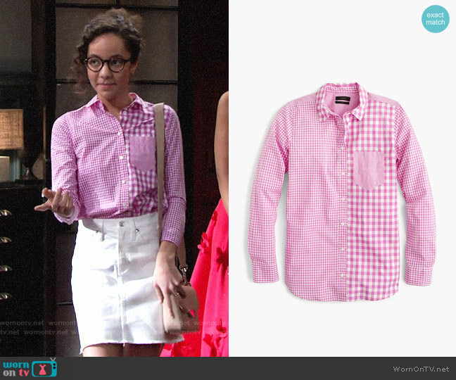 J. Crew Gingham Cocktail Shirt worn by Lexie Stevenson on The Young & the Restless