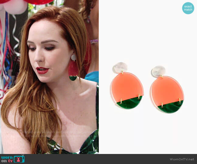 J. Crew Lucite Statement Earrings worn by Camryn Grimes on The Young & the Restless