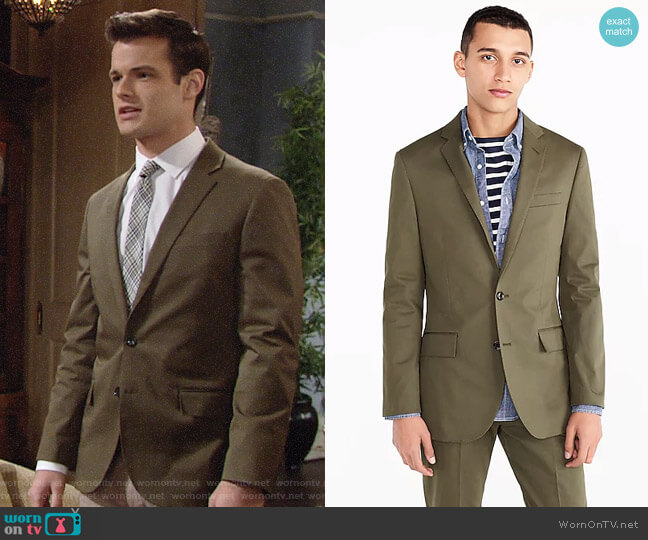 J. Crew Ludlow Jacket in Streetscape Green worn by Kyle Abbott (Michael Mealor) on The Young & the Restless