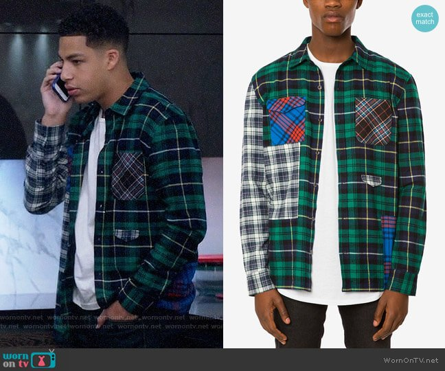 Jaywalker Pieced Patchwork Plaid Flannel Shirt worn by Andre Johnson Jr (Marcus Scribner) on Blackish