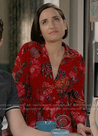 Jen's red floral dress on Life in Pieces