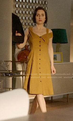 Jen's yellow button front dress on Life in Pieces