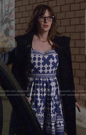 Jess's blue and white printed dress on New Girl