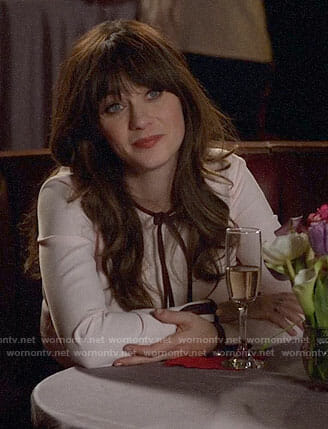Jess's pink bow neck dress on New Girl