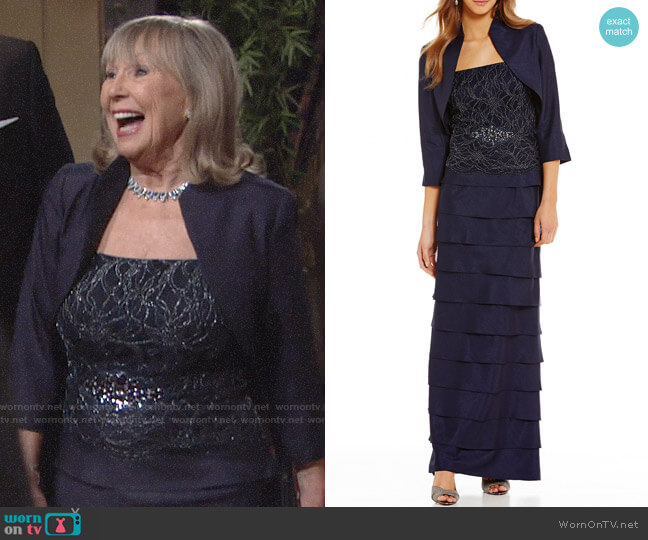 Jessica Howard Lace Tiered 2-Piece Jacket Dress worn by Marla Adams on The Young & the Restless