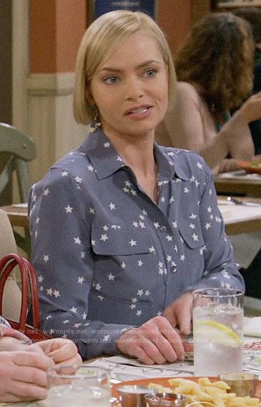 Jill's blue star print shirt on Mom