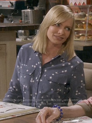 Jill's blue star print shirt on Mom