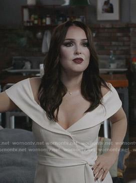 Arizona's white floral off shoulder dress on Grey's Anatomy