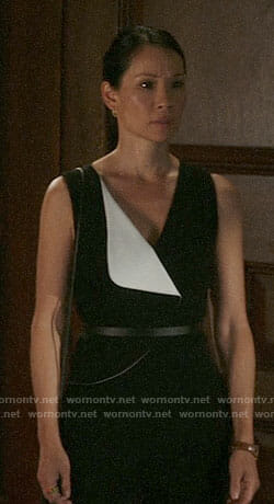 Joan's black and white jumpsuit on Elementary