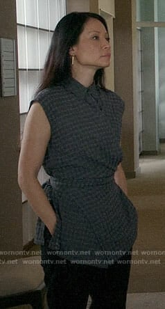 Joan's grey checked top on Elementary