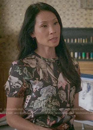 Joan's jungle animals print top on Elementary