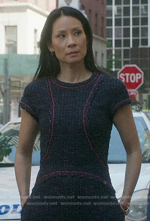 Joan's purple tweed dress on Elementary
