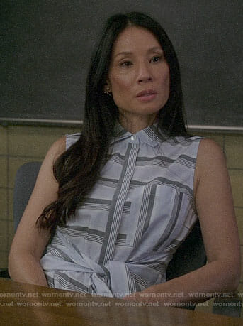 Joan's striped tie-waist shirtdress on Elementary