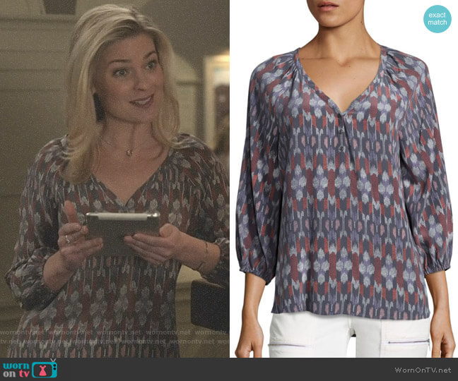 Colby Kimono Ikat Print Silk Blouse by Joie worn by Stephanie Borden (Kylee Evans) on Good Witch