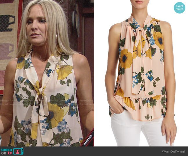 Joie Estero Top in Dusty Pink Sand worn by Sharon Collins (Sharon Case) on The Young & the Restless