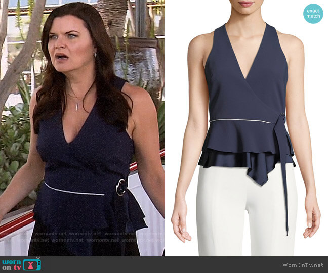 Jonathan Simkhai Satin Crepe Sleeveless Wrap Blouse worn by Heather Tom on The Bold & the Beautiful