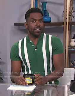 Justin's green striped polo shirt on E! News Daily Pop