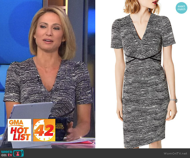 Puff-Sleeve Sheath Dress by Karen Millen worn by Amy Robach (Amy Robach) on Good Morning America