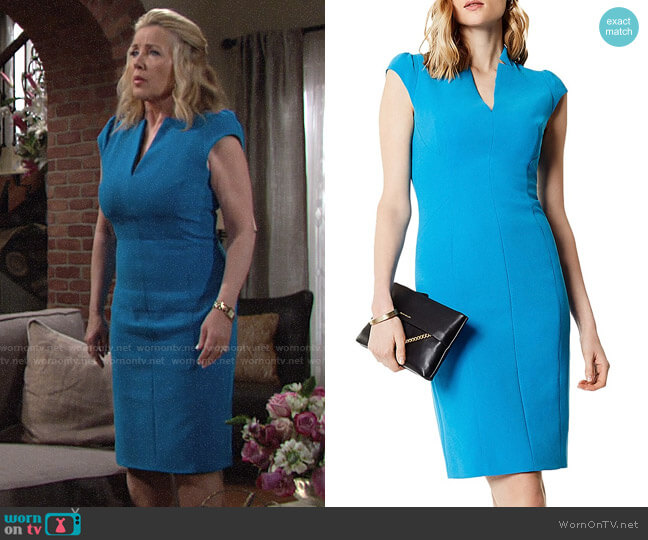 Karen Millen Tailored Pencil Dress worn by Melody Thomas-Scott on The Young & the Restless