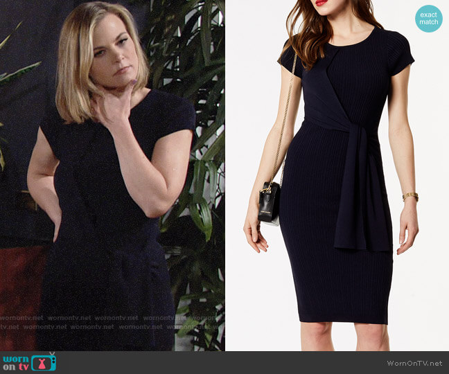 Karen Millen Ribbed Knit Dress worn by Gina Tognoni on The Young & the Restless