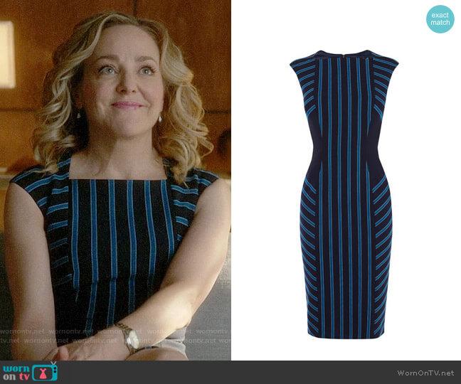 Karen Millen Striped Corset Pencil Dress worn by Geneva Carr on Bull
