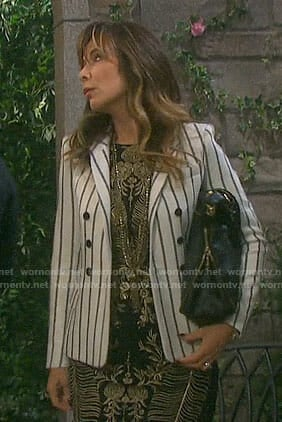 Kate's gold embroidered dress and striped blazer on Days of our Lives