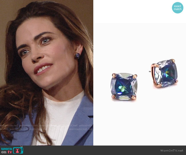 Kate Spade Enamel Small Square Stud Earrings worn by Victoria Newman (Amelia Heinle) on The Young & the Restless