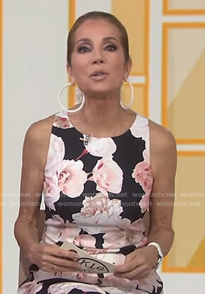 Kathie's black floral sleeveless dress on Today