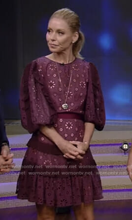 Kelly's purple ruffled eyelet dress on Live with Kelly and Ryan